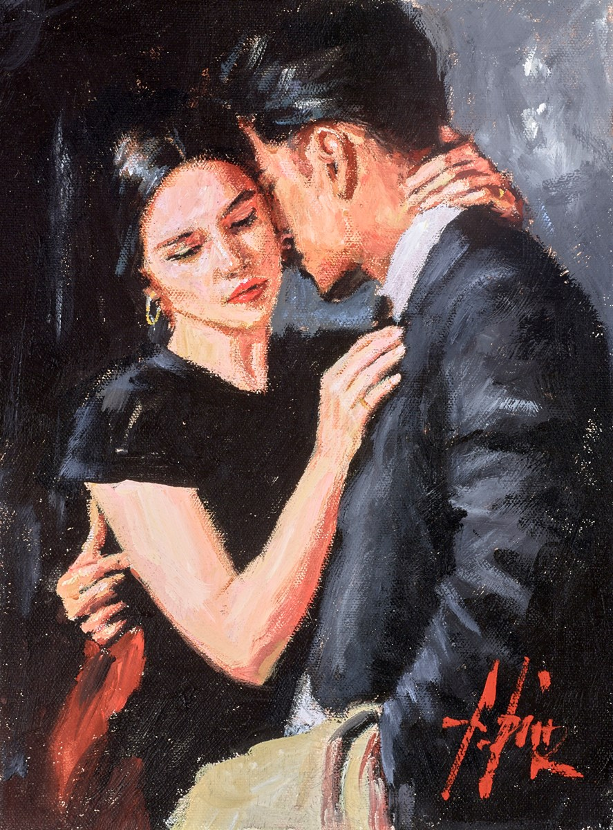 The Embrace VIII (Train Station) by fabian perez -  sized 9x12 inches. Available from Whitewall Galleries